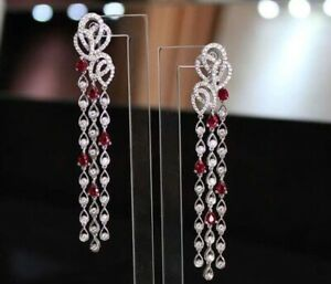 6Ct Pear Cut Ruby Simulnt Diamond Chandelier Link Earrings White Gold Fns Silver