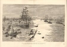 1887 ANTIQUE PRINT -  THE JUBILEE NAVAL REVIEW AT SPITHEAD