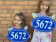 """Oval House Number Sign Address Plaque 14x8.5"""" 1/4"""" King ColorCore Blue/White"""