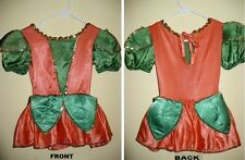 Ice Figure Skating Dress Costume Fairy or Medieval orange & green Girls S 4 6