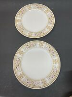 "2 Wallace Heritage China Daphne Dinner Plate Dinnerware Floral 10.25"" Japan"