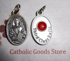 St. Saint Dymphna (Patron Saint of Stress) - Relic Silver-Tone OX 1 inch Medal