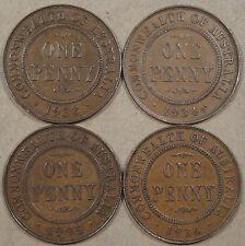 Australia Pennies 1933,34,35,+36 better grade coins