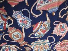 Cranston OOP Navy Blue Cotton Kitchen Tea Party fabric Tea Pot half yard 1/2 cut
