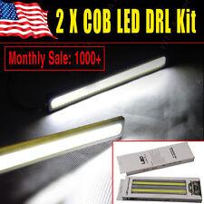 2xXenon White Latest Silver COB LED Light Car Daytime Running DRL Fog Waterproof