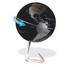 Drehender Deko Globus Weltkugel schwarz silber mit Batteriebetrieb Designständer