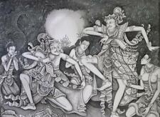 Hand painting Balinese Bali Ramayana Unique 172