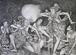 Hand painting Balinese Bali Ramayana Unique 172