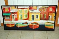 "Fabrice de Villeneuve Colorful Rowboats Original Acrylic Painting 50x24"""