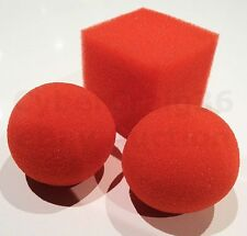 SQUARE 5cm RED CUBE SPONGE BALL IN TO 2 x 4.5cm BALLS CLOWN KID TRICK FOAM MAGIC