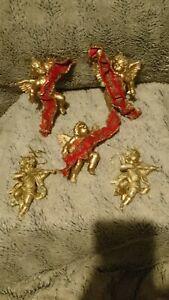5 Vintage Gold Tone Plastic Cherubs Angels Christmas Tree Decorations Baubles...