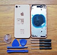 ALLOY METAL COMPLETE HOUSING GLASS BATTERY COVER REPLACEMENT FOR iPhone 8 GOLD