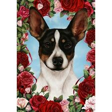 Roses Garden Flag - Tri Rat Terrier 193241