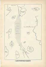 1935 Cape Porpoise Maine Harbor Chart Bickfords Island Map Goat Island Folly Isl