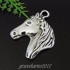 28pcs/lot Vintage Silver Alloy Horse Head Pendant Charms 25*20*2mm 39438