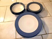 Lot of Eleven Denby Intro Stripes Blue Dinner, Salad Plates, Cereal Bowls