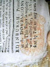 1778 Revolutionary War Edinburgh SCOTLAND newspaper with a RED TAX STAMP