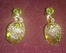 SARAH COVENTRY GREEN TOURMALINE CLIP ON EARRINGS