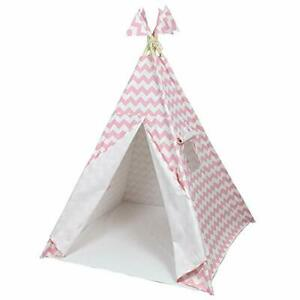 Kids Pink Stripe Tepee 100% Canvas Attached Floor & Sturdy Poles 1.6x 1.2 x 1.2m