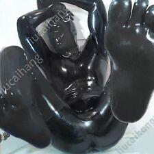 100%Latex Rubber Gummi 0.8 mm Bodysuit Catsuit Mask Suit Zentai Black -aa147