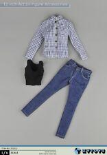 """ZYTOYS ZY5012 1/6 Scale Blue shirt & Jeans Pants suit F 12"""" Woman Figure Model"""