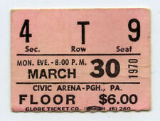 LED ZEPPELIN Original 1970 Pittsburgh Concert Ticket Stub - Super Rare!