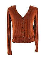 Abound Women's Orange V-Neck Button-Down Knit Crop Cardigan Sweater Size XXS NEW