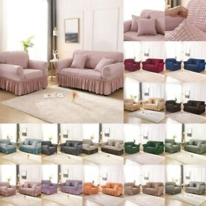 1/2/3/4 Seater Elastic Soft Sofa Cover Stretch Bubble Lattice w Skirt Sofa Cover