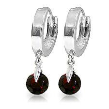 2 CTW 14K Solid White Gold Hoop Earrings Natural Garnet