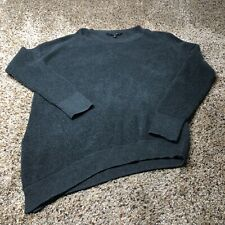 Athleta Rest Day Asym Crewneck Sweater Charcoal Grey Pima Cotton Blend Womens L