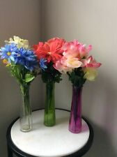 """Three 9"""" colorful vase with artificial flowers included"""