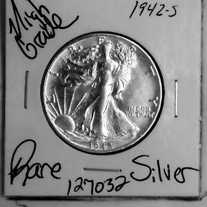 1942 S Walking Liberty Silver Half Dollar HIGH Grade Rare US Coin #127032