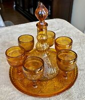 Vintage Tiara Indiana Glass Amber Sandwich Decanter Set with Tray and Glasses