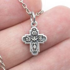 Catholic Cross Silver Plated 4 Way Medal Pendant Necklace Jesus Saint Italy