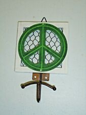Rustic Chicken Wire Metal Peace Sign Wall Hook Home Decor
