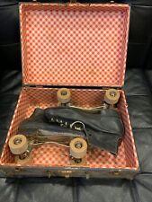 ☆☆Vintage Mens Black Chicago Roller Skates Wood Wheels Size 7 Pat 1914 With Case