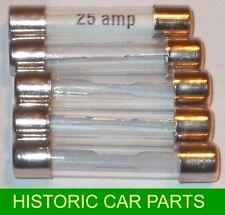25 Amp elektrisch Glassicherungen 25AMP x 5 1950s-70s Auto