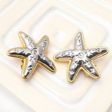 Vintage Starfish Clip On Earrings Silver Tone Statement Jewellery Oversized Star