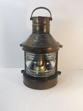 Genuine Antique Tung Woo Brass Copper Masthead Sailing Ship Lantern Fresnel Lens