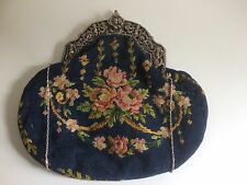 Antique Victorian Ladies Sterling Silver & Tapestry Evening Bag - Chester 1889