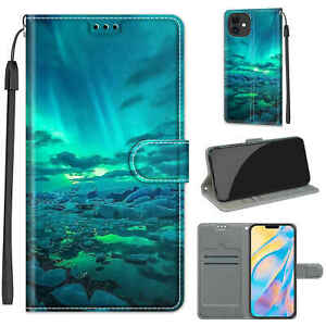 Hot New Aurora Painted Flip Card Wallet Stand Soft Case For Various Phone Covers