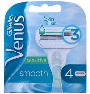 4 Gillette Venus smooth sensitive  Rasierklingen Ersatzklinge Skin Elixir