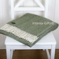 KNEE RUG / SMALL THROW Pure New Wool FOREST GREEN Herringbone Blanket Chair GIFT
