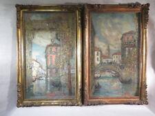 GUILLAUME ROGER PAIRE DE GRANDS TABLEAUX GOUACHE CANAL VENISE 1908 CADRE DORE