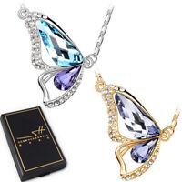Halskette *Schmetterling* im Etui   Swarovski® Kristalle   Damen   Gold, Silber