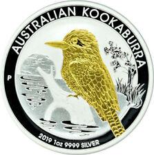 1 OZ Silber Kookaburra 2019 mit Goldapplikation