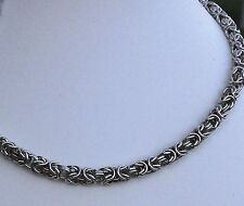 CHAIN MAIL UNISEX NECKLACE BYZANTINE TWO TONE SILVER COLOUR BRONZE COLOUR PLATED