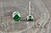 1.0 ct Brilliant Round Cut Green Screw Back Earring Studs Solid 14K White Gold