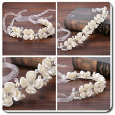 Braut Haarband Haargesteck Tiara Diadem Krone Blumen Perlmutt Imitat  Flexibel