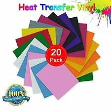 """HEAT TRANSFER VINYL 12""""x 10"""" Sheets Assorted Multi Colors Tshirt Iron On 20 Pack"""